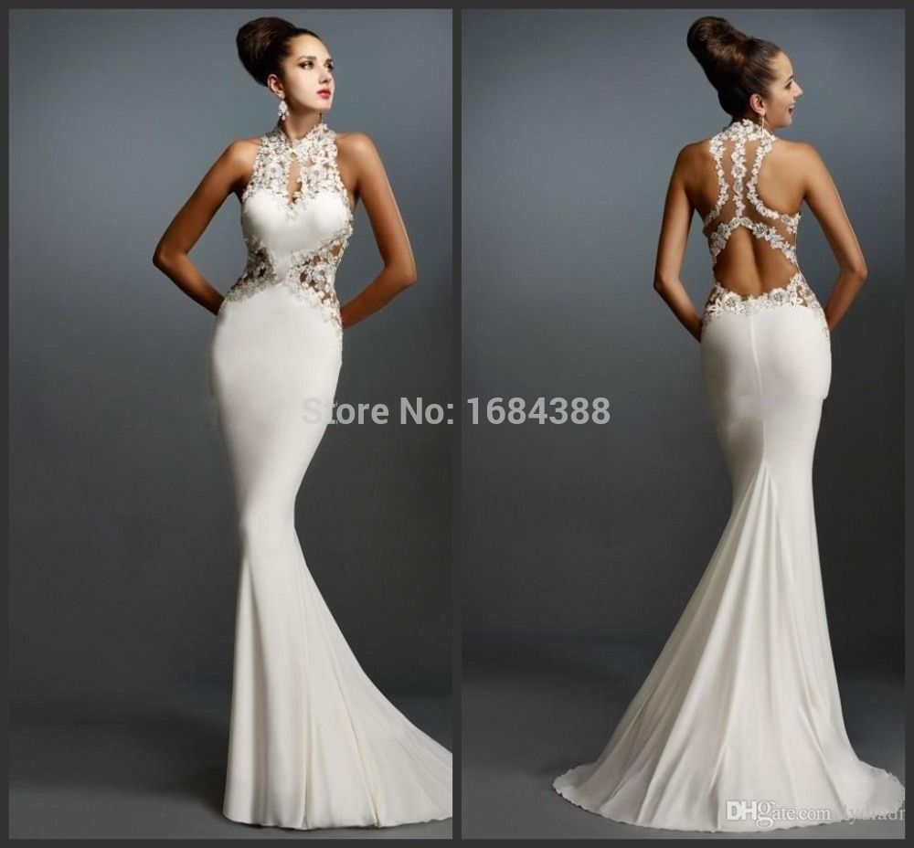 Mermaid White Prom Dresses Halter Sleeveless Applique Elegant ...