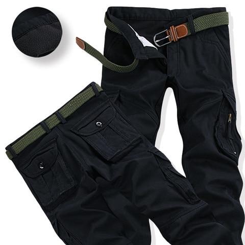 Mens Winter Pants Thick Warm Cargo Pants Casual Fleece Pockets Fur Trouser Plus Size 38 40 Fashion Loose Baggy Joger Worker Male Karachi