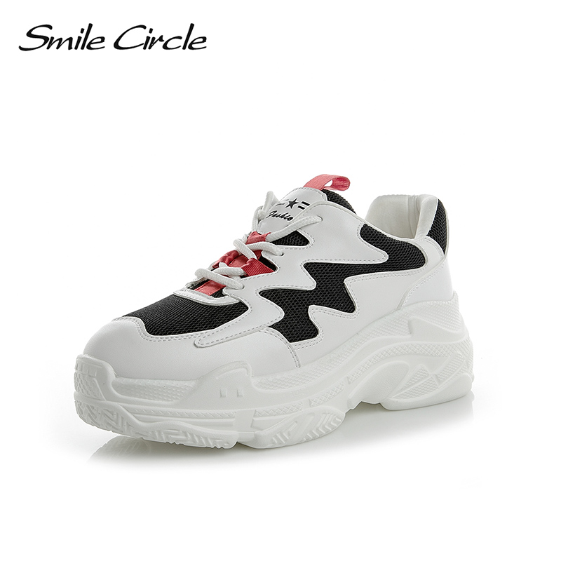 Smile Circle Spring/Autumn Women Shoes Genuine Leather Sneakers For Women Fashion Lace-up Flat Platform Shoes White Sneakers beffery 2018 new women shoes genuine leather lace up sneakers fashion embroidery casual shoes women sneakers flat platform shoes
