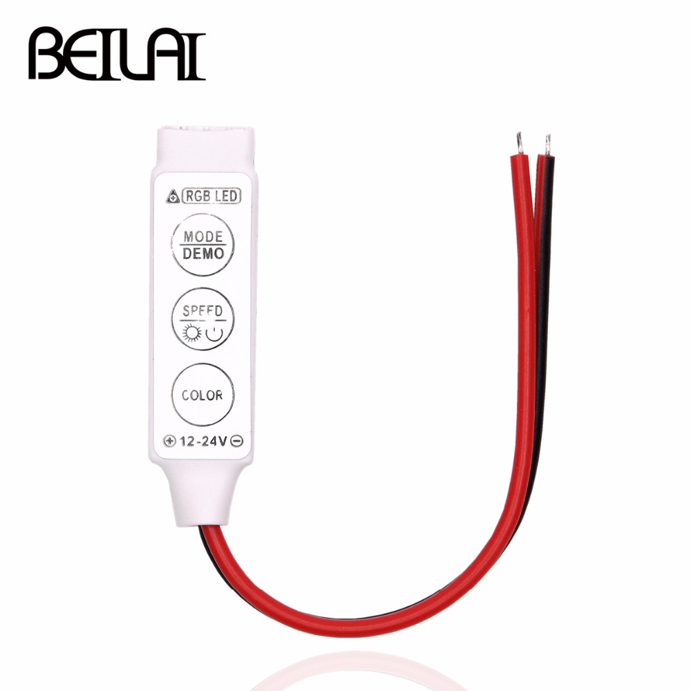 BEILAI DC 12V 6A LED RGB Controller Dimmer Mini 3Key Remote For 5050 2835 RGB LED Strip 19 Dynamic Modes and 20 Static Color ...