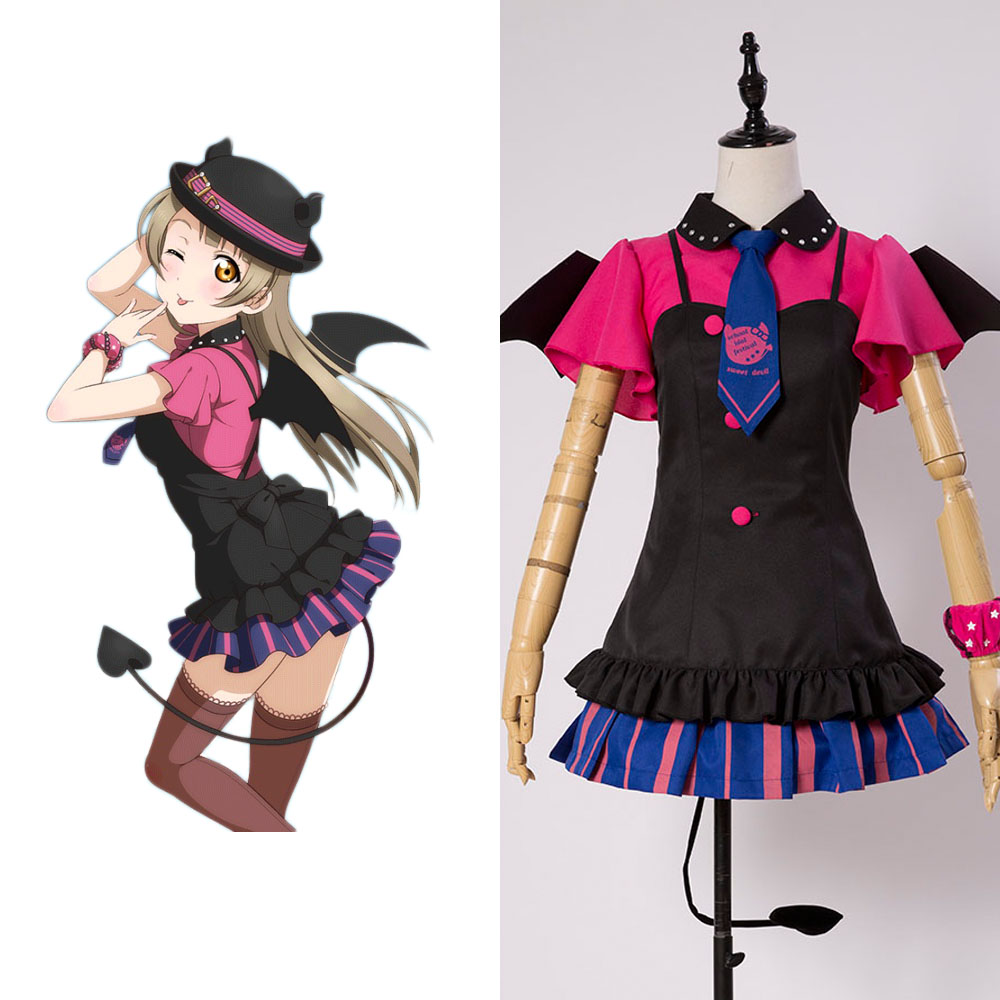 Love Live New SR Kotori Minami Little Demon Uniform Bracer Dress Hat font b Shirt b
