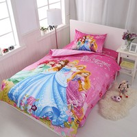 Disney Cinderella Bella Princess Rapunzel Girls Bedding Set Duvet Cover Bed Sheet Pillow Cases Twin Single Size Drop Shipping