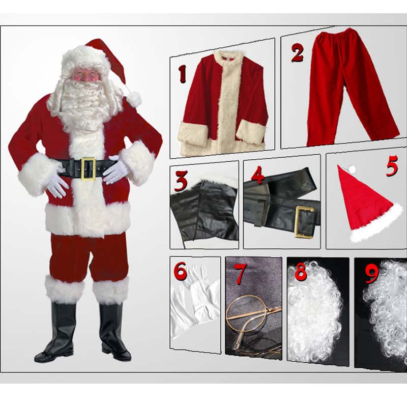 2018 New A Full Set Of Christmas Costumes Santa Claus For Adults Red Christmas Clothes Santa Claus Costume Halloween Luxury Suit hooded santa claus costume