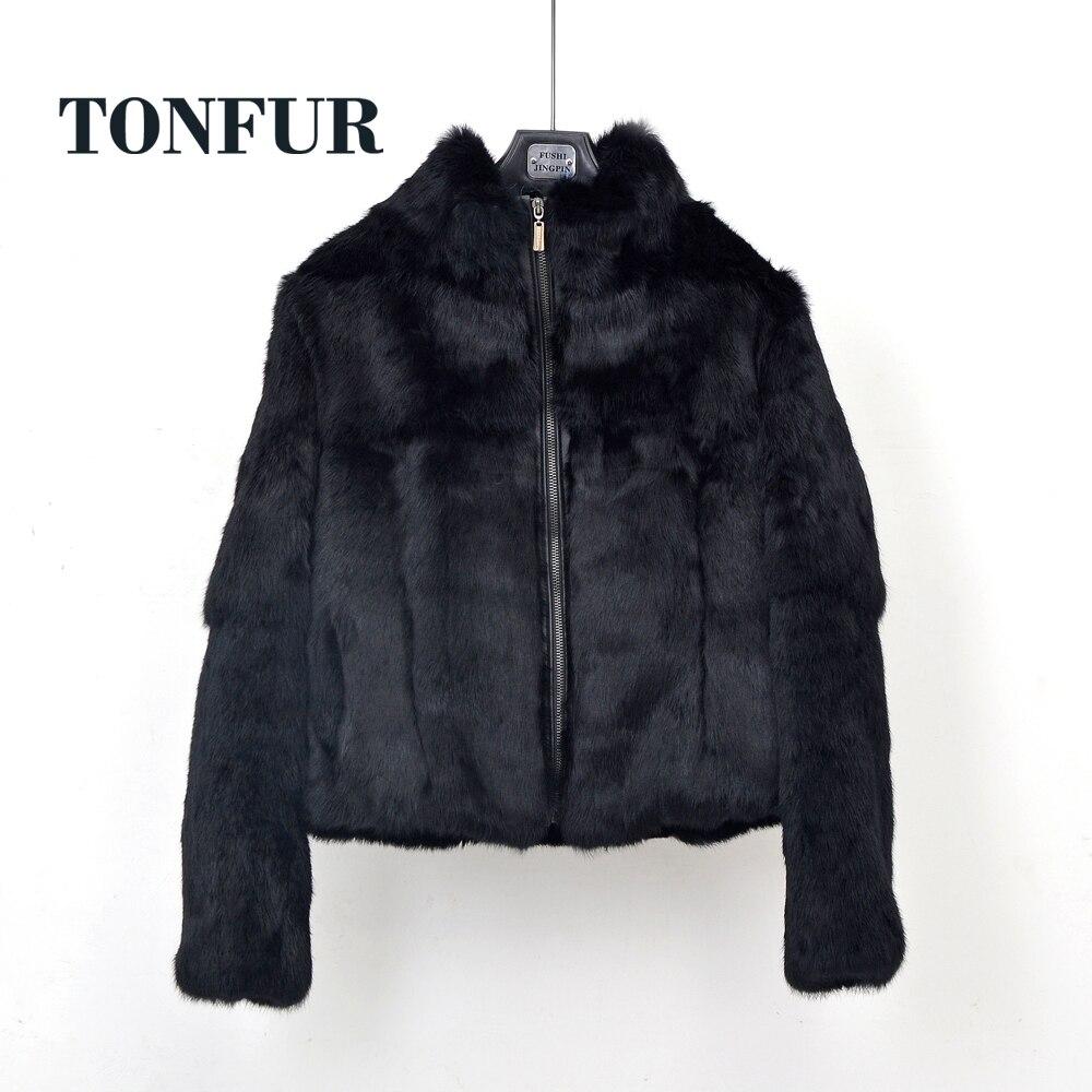 Zipper Closed 100% Genuine Full Pelt Real Rabbit Fur Coat With Zipper High Street Casual Vintage Natural Fur Jacket TSR258