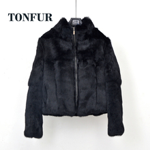 Zipper Closed 100 Genuine Full Pelt Real Rabbit Fur Coat with Zipper High Street Casual Vintage