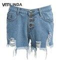 VESTLINDA Denim Shorts Jeans Mulheres Femme Verão Único Breasted Bolsos Botão Buraco Casuais Shorts De Cintura Alta Sexy Shorts Quentes