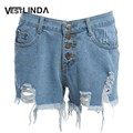VESTLINDA Denim Shorts Women Jeans Femme Summer Single Breasted Button Pockets Hole Casual High Waist Shorts Hot Sexy Shorts