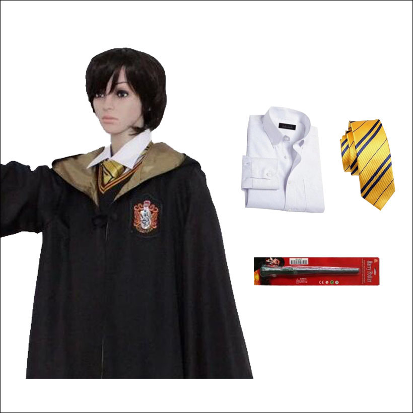 Harry Potter Hufflepuff School Fancy Robe Cloak Costume And Tie