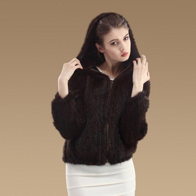 Fashion Women Fur Coats Zipper Knitted Real Mink Fur Jackets With Fur Hood Coat Winter Fur Outwear YC1003