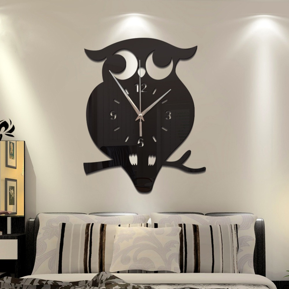 Creative 3D DIY Owl Wall Clock Acrylic Stickers Quartz Wall Clocks Living Room Kitchen Wall Clocks Living Room Home Decor 60025|Wall Clocks| |  - title=