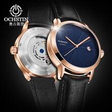 أعلى العلامة التجارية OCHSTIN ساعة رجالية فاخرة أسلوب بسيط التلقائي الميكانيكية ووتش للذكور ساعة التسجيل الصلب جلدية الطلب المعصم الساعات