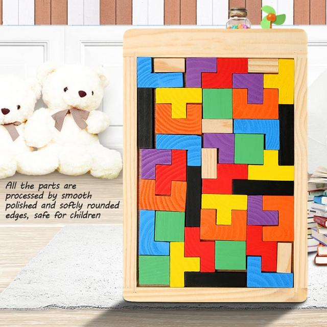 Baby Wooden Tetris Puzzles Toys Colorful Jigsaw Board Kids Children Magination Intellectual Educational Toys For Children Gift