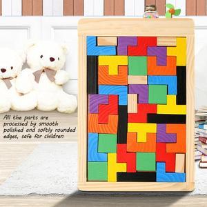 Image 4 - Rompecabezas de madera colorido para bebé, juguete educativo intelectual de maginación para niños