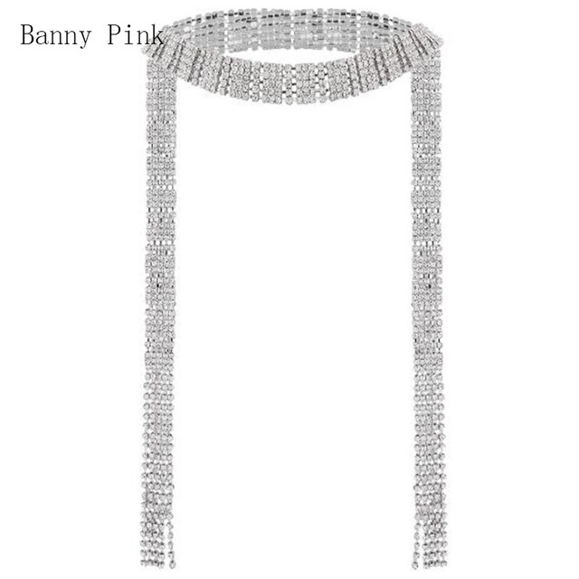2017 New Rhinestone Long Necklace For Women Crystal Geo Luxury Tassel Necklace Chunky Crystal Wedding Jewelry Colliers Colar
