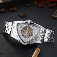 Luxury Personality Triangle Men's Mechanical Watch With Automatic Winding Automatic Hollow Unique Man Skeleton Watch Top Brand