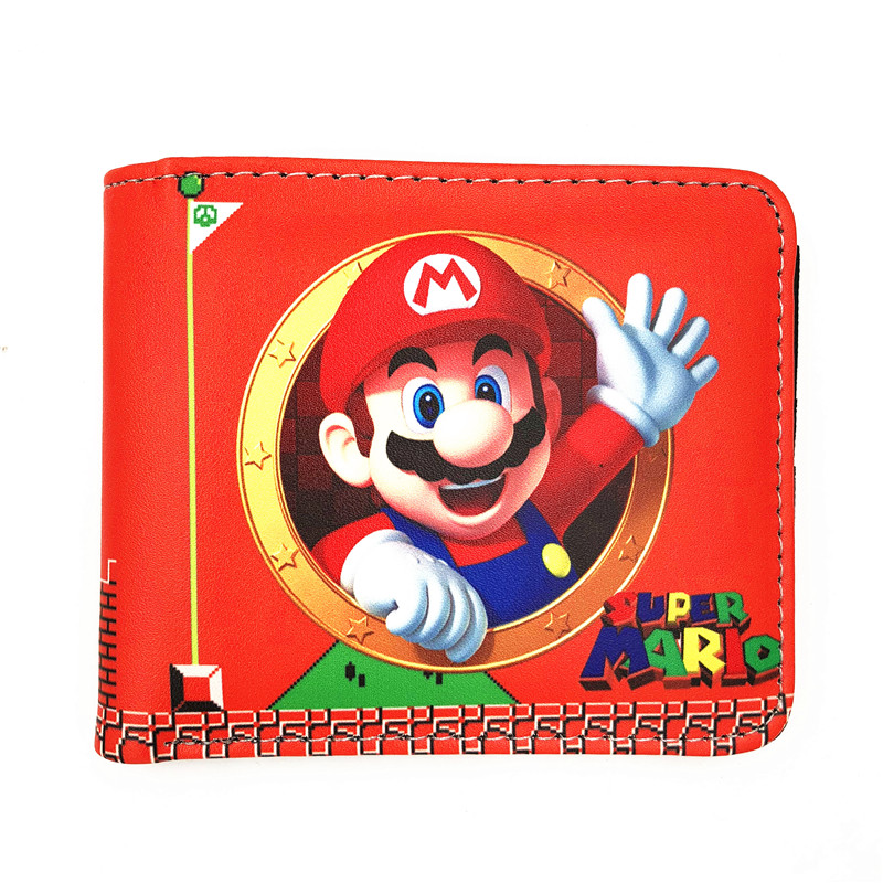 Lovely Cartoon Wallets Games Super Mario World Printed Purse Fashionable Gift Kids Boy Girl Leather Short wallet W478 hot super mario purse games cartoon super mario logo wallets red dollar bag carteira gift men women kid fashion pvc short wallet