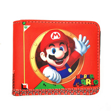 hot deal buy lovely cartoon wallets games super mario world printed purse fashionable gift kids boy girl leather short  wallet w478
