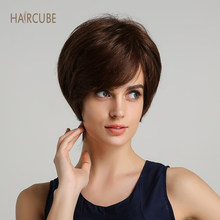 Haircube Synthetic 6 Inch Short 50% Human Hair Wigs with Bangs Natural Wave Dark Brown Fluffy Layered Wigs for Women(China)