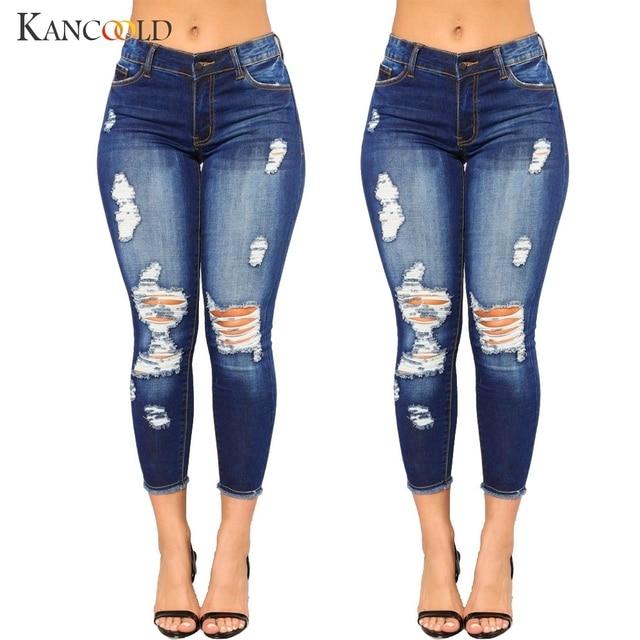 aefc9c03a6d33 KANCOOLD jeans agujero de la mujer lápiz Denim Jeans Stretch Pantalones  Slim Fitness pantalones Oficina dama mujer jeans vaqueros Mujer 2018Oct24
