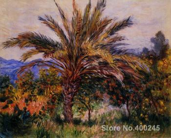 Art oil Painting for Living room A Palm Tree at Bordighera by Claude Monet Hand painted High quality