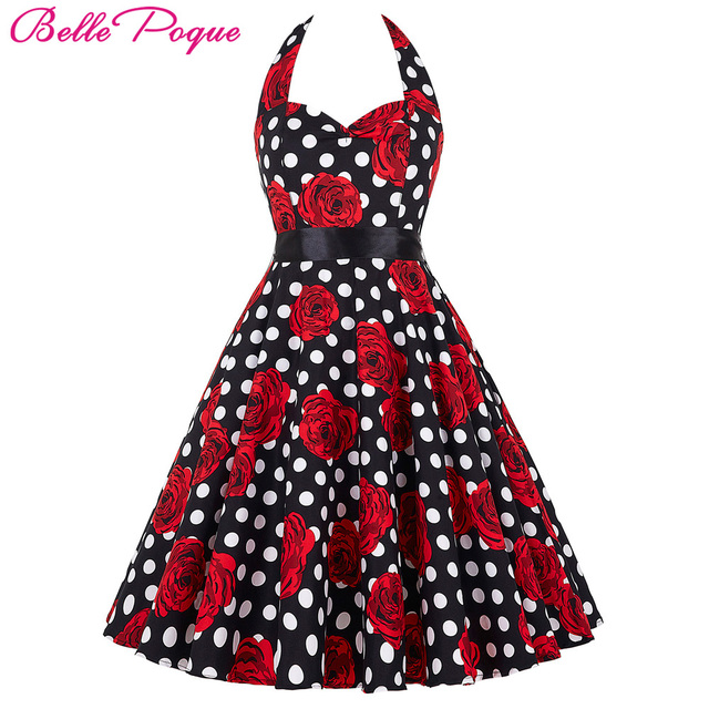 Belle Poque Audrey Hepburn Style Vintage Dresses Summer Plus Size Casual Party Robe Rockabilly Floral 50s Big Swing Retro Dress