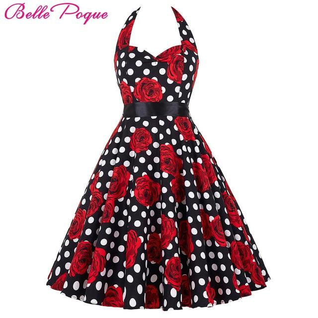 cc23cfd0bf957 Belle Poque Audrey Hepburn Vintage Dresses Summer Plus Size Casual Party  Robe Rockabilly Floral 50s Big Swing Retro Women Dress