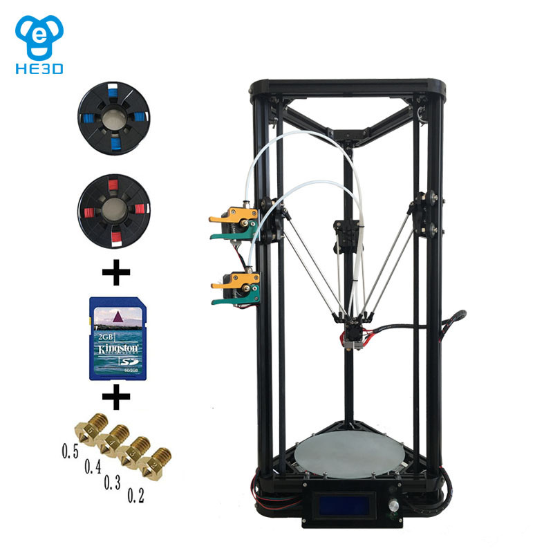 New upgrade HE3D high presicion K200 dual aluminium extruder delta diy 3D printer two rolls of