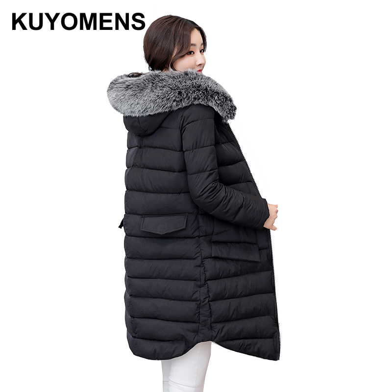 KUYOMENS 2017 Winter Coat Women Parka Long Thick Warm Cotton Jacket Large Fur Collar Hooded Warm Parkas Cotton-padded Outerwear kuyomens 2017 women winter jacket coat cotton hooded thick warm loose women basic coats bomber jacket female autumn women coat
