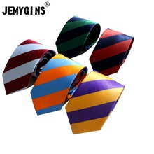 JEMYGINS Original Classic Man Necktie Microfiber Color Striped No Wrinkles Glossy  Fashion Tie For Party&Business