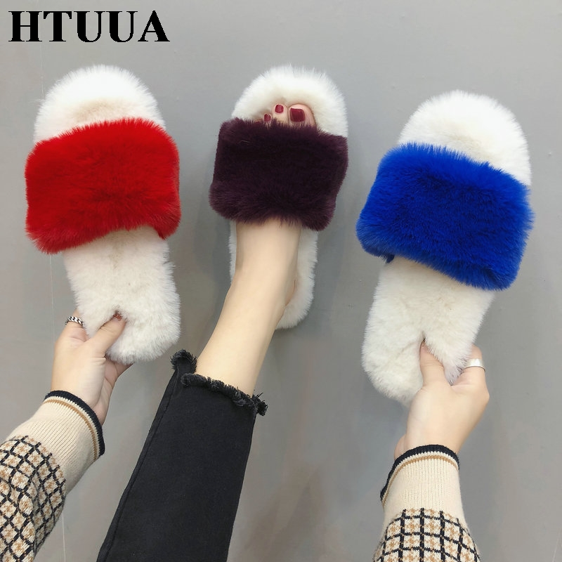 HTUUA Fashion Fluffy Fur Slippers Women Warm Plush Winter Slippers Flat Furry Slides Indoor Floor Home Slippers Cozy Shoes S1762 fongimic comfortable women slippers women casual indoor plush shoes autumn winter warm fashion slippers hot sale flat slippers