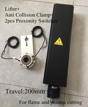 24VDC Travel 200mm CNC Flame Plasma Cutting Lifter Z axis +Anti Collision Clamp+2pcs Proximity Switches cnc thc plasma cutting torch height controller thc lifter and holder two proximity switches