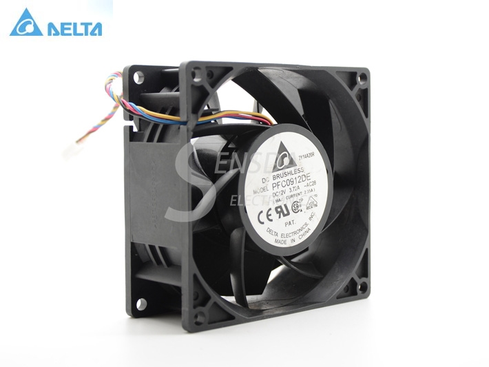 Original Delta PFC0912DE 9038 90mm 9cm DC 12V 3.72A 9038 9CM server inverter cooling fan original delta cooling fan 9cm 9038 48v 0 26a pfb0948ehe three wire cooling fan