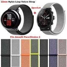 Купить с кэшбэком Smart Watch Bracelet Strap 22mm Nylon Correa Band for Xiaomi Huami Amazfit Stratos 2 Pace for Samsung Gear Classic S3 Frontier