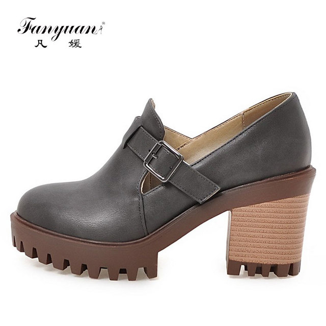 0a2b8a51929 US $24.37 47% OFF|Fanyuan Casual shoes women 2018 Ladies Heels Round toe  scarpe donna Black Beige Grey PU Leather Platform chunky heel Pumps-in ...