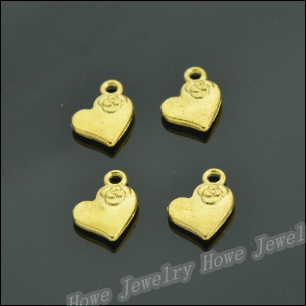 28 pcs Gold color plated zinc alloy love heart Pendant fit Charm Women's Fashion Bracelet Necklace DIY Jewelry Findings JC-573