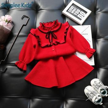 a3616f8d7 Conjuntos de ropa de punto para niñas de Navidad conjuntos de trajes de  Navidad Camisa + suéter de falda 2 piezas Otoño Invierno niños ...