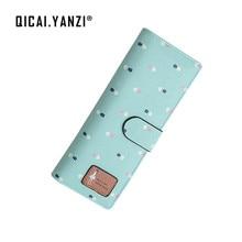 QICAI. YANZI Mädchen Druck 55 Karten Position Lange Brieftaschen Mode Haspe ID Kreditkarteninhaber Veranstalter Taschen Geldbörse Z636