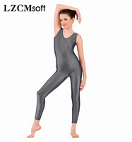 LZCMsoft Grey Girls Basic Tank Ballet Dance Unitards Kids Gymnastics Long Leotards Spandex Lycra Performance Dance