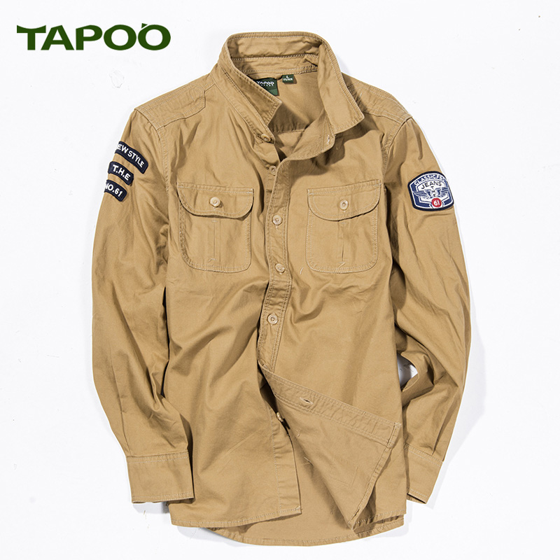c1a53d8c65 NianJEEP Brand Men Shirts aeronautica militare Long Sleeve 100% Cotton Army Military  Casual Clothing Loose Plus Size cargo shirt