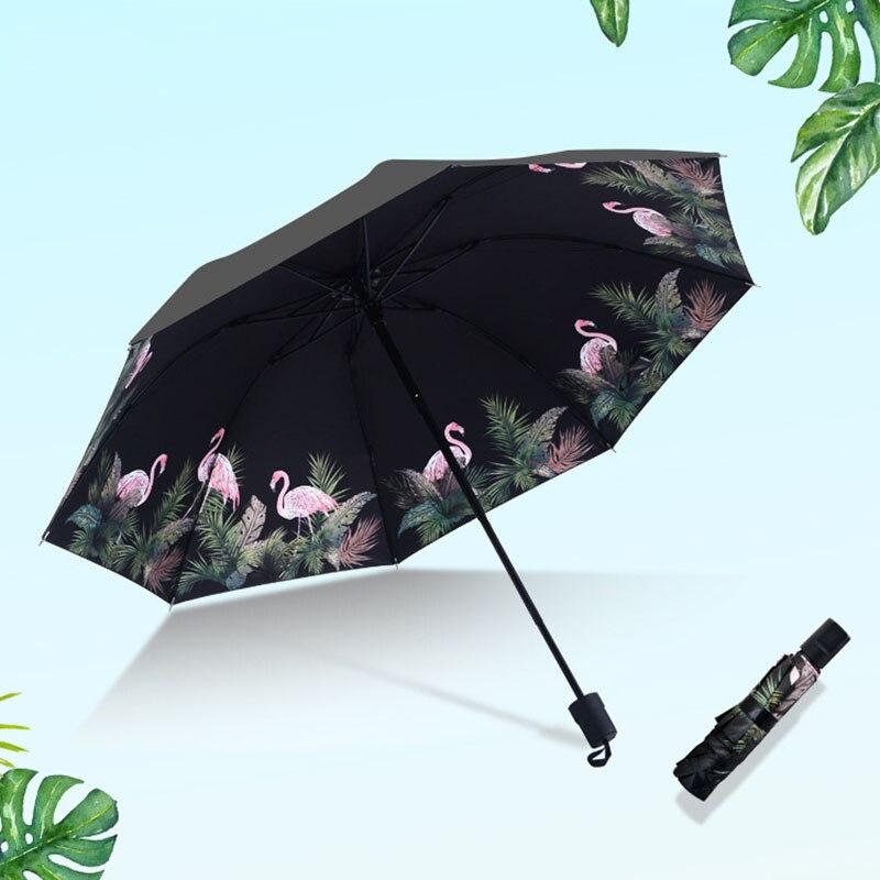 Miniparaguas portátil para mujer, protector solar Anti-UV, Paraguas para lluvia, para mujer, dibujo de flamenco, Sombrilla de verano, Sombrilla, Chinoise