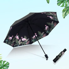 Tragbare Mini Regenschirm Frauen Sonnencreme Anti-Uv Paraguas Regenschirm Regen Frauen Flamingo Print Sommer Sombrilla Ombrelle Chinoise(China)