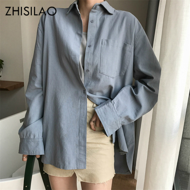 ZHISILAO Chic Solid Shirts Long Sleeve Cotton Linen Blouse Plus Size Shirts Oversize White Blouse Maxi Boyfriends Chemisier 4