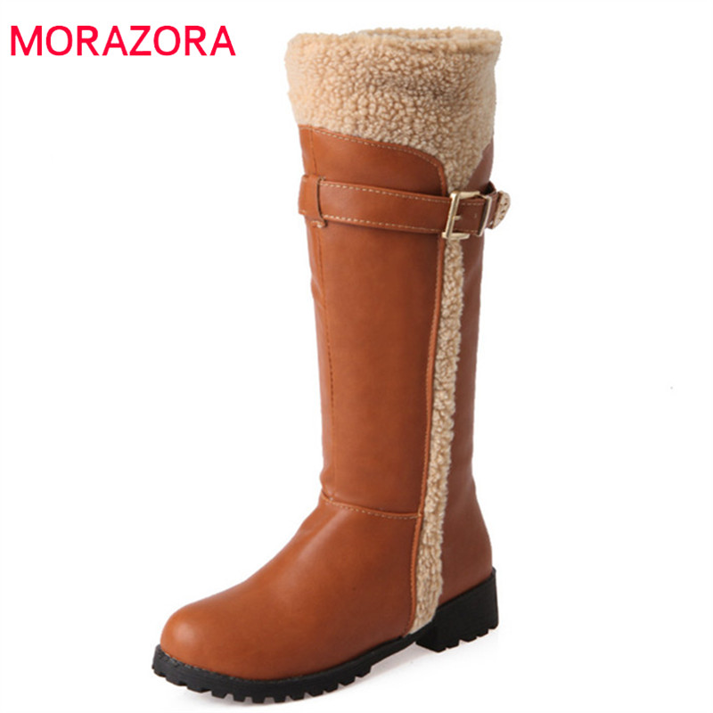 MORAZORA 2018 new arrival knee high boots women pu round toe winter snow boots black faux fur comfortable low heels shoes womanMORAZORA 2018 new arrival knee high boots women pu round toe winter snow boots black faux fur comfortable low heels shoes woman