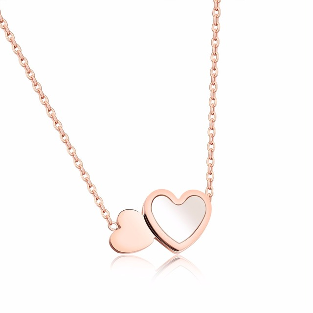2018 New Fashion Designer Double Heart Charm Jewelry Rose Gold Color