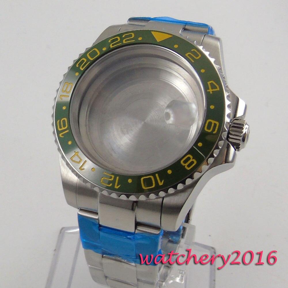 40mm parnis ceramic bezel Watch Case sapphire glass fit ETA 2824 2836 Movement