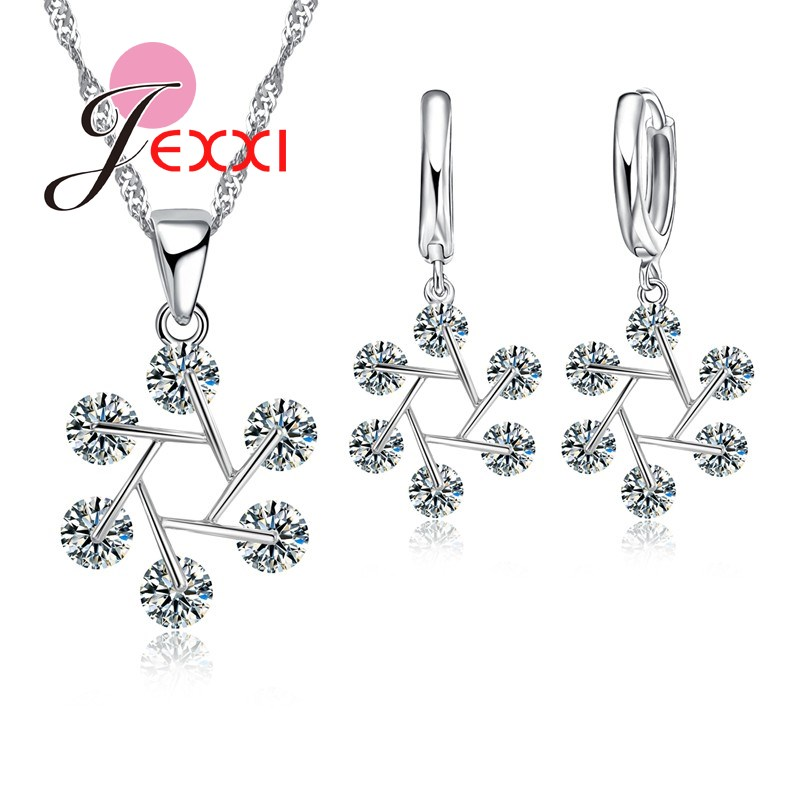 JEXXI 2018 New Women Jewelry Set 925 Stamped Sterling Silver Cubic Zircon Crystal Necklaces Earrings Jewllery Sets For Female