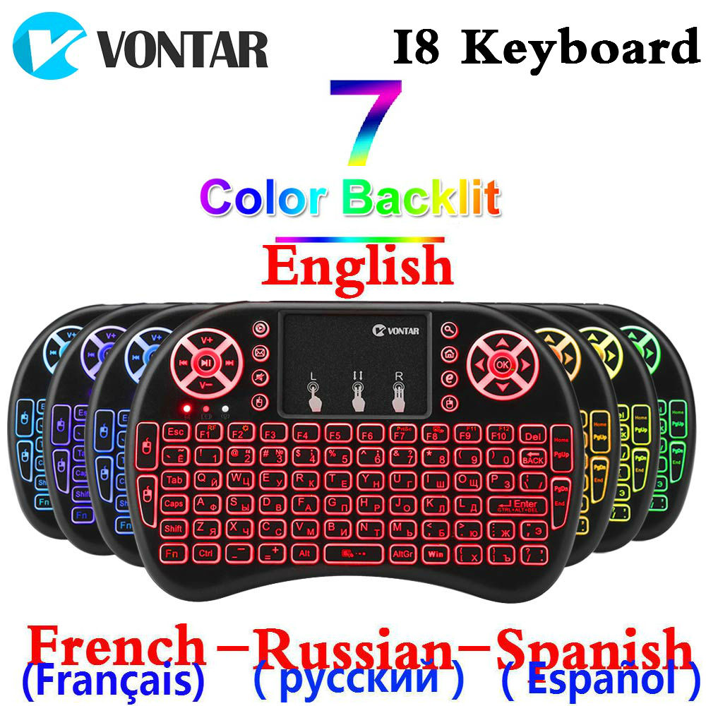 VONTAR Backlit I8 Mini Wireless Keyboard 2.4GHZ English French Russian Spanish Air Mouse Touchpad I8 Remote For Android TV Box