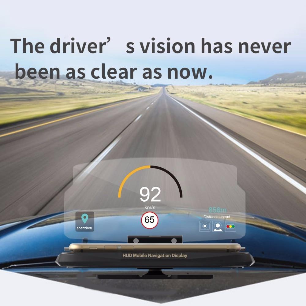 imágenes para Suv coche giratoria de navegación gps hud head up display mount teléfono holder soporte para iphone 7 plus android smartphone 3.5-6.6 pulgadas