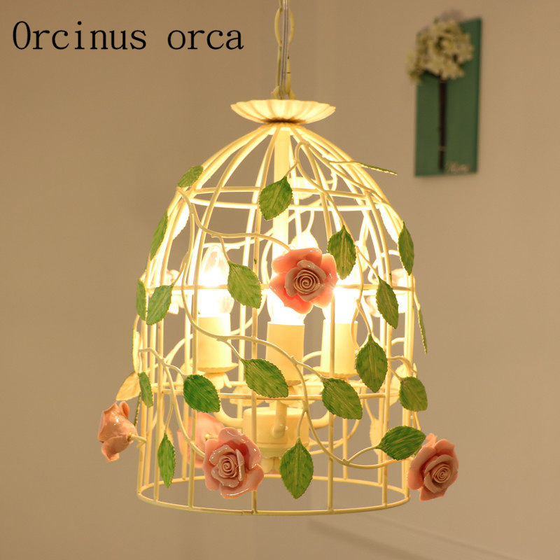 New Iron Cage Chandelier Living Room Restaurant Chandelier Korean Style Creative Flowers And Chandeliers Free Shipping