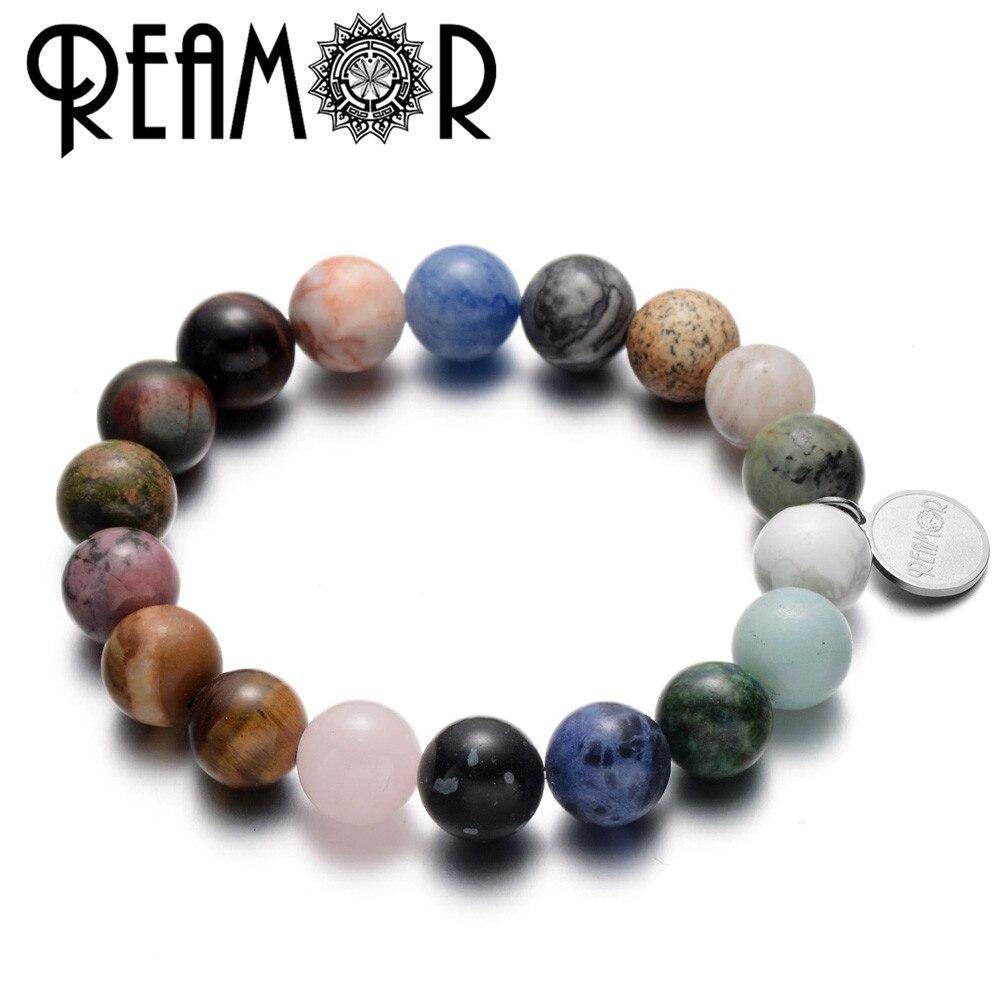 REAMOR Fashion Universe Galaxy Planets Solar System Natural Stone Beads Bracelets Men Women Stretch Bracelet & Bangle Jewelry
